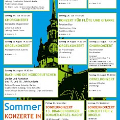 Plakat zu Sommerkonzerten in der St. Katharinenkirche in Brandenburg an der Havel
